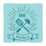 Home kitchen, home cooking label design Royalty Free Stock Photos