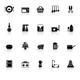 Home kitchen icons with reflect on white backgroun Stock Images