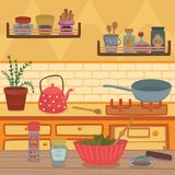 Home kitchen with kitchenware utensils, shelves, herbs and spices on wooden table vector illustration, design element Stock Images