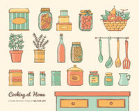 Home kitchen objects set Royalty Free Stock Photography