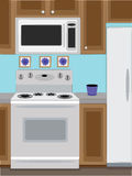 Home Kitchen oven and microwave. Close up view of home kitchen oven, microwave and attached wooden cabinets Royalty Free Stock Image