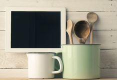 Home kitchen still life, vintage style royalty free stock images