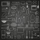 Home kitchen tools and food outline icon on blackboard eps10 Stock Images