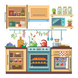 Home kitchenware. Food and devices in color vector flat illustration. Stove, oven with baking, refrigerator, condiments Stock Photos