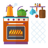 Home kitchenware vector concept with stove, kettle, coffee pot and cake Stock Photo