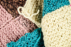 Home knitting with colorful wool Stock Image