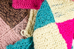 Home knitting with colorful wool Stock Images