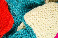 Home knitting with colorful wool Stock Photo