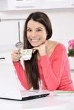 home kvinnaworking för affär arkivfoton