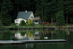 Home On The Lake. A beautiful Oregon Lake setting stock photography