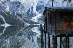 Home on the lake. Lake of Braies, italy royalty free stock photo