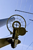 Home Land Security. World war 2 gun site and cannon looking up at an antenna Stock Photography