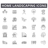 Home landscaping line icons for web and mobile design. Editable stroke signs. Home landscaping outline concept stock illustration