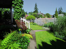 Home Landscaping. A photograph of landscaping at a house royalty free stock photo