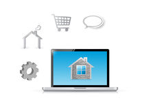 Home laptop computer tools illustration design Stock Photos