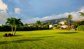 Home with large green lawn. Beautiful home with large grassy green lawn Royalty Free Stock Photos