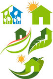 Home leaf logo. Illustration art of a home leaf collection logo with isolated background Stock Images