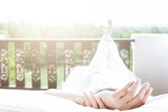 home, leisure, relax and happiness concept Stock Photos