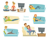 Home leisure vector. Home leisure. Couple watching tv. Man work at home and women shopping online on sofa with laptop. Friends playing video games. People lying vector illustration