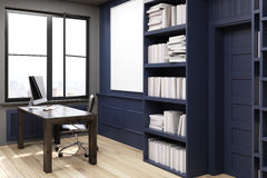 Home library with a desk, black, side view Royalty Free Stock Photography