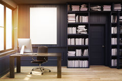 Home library with a desk, black, toned Stock Photography
