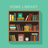 Home library. Home library flat illustration. Wooden shelf with books, alarm clock and cup with pencils royalty free illustration