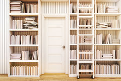 Home library with a ladder, toned. Home library interior with bookshelves by the sides of a door and a ladder to gain access to the books on high shelves. 3d Royalty Free Stock Images