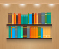 Home Library. Vector illustration on textured wooden background stock illustration