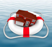 Home in Life Preserver on Water. A home in a life preserver adrift at sea Royalty Free Stock Image
