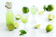 Home lime liquor in a glass and fresh lemons and limes on the white wooden background Stock Image