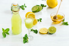 Home lime liquor in a glass and fresh lemons, limes on the white wooden background Stock Photography