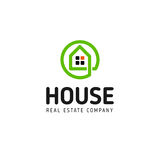 Home linear vector logo. Smart house line art green and black logotype. Outline real estate icon. Home linear vector logo. Smart house line art green and black Stock Photo