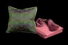 Home  linens and pillows on a black background. Linens and pillows on a black background Royalty Free Stock Images