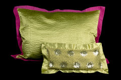 Home  linens and pillows on a black background. Linens and pillows on a black background Royalty Free Stock Photos