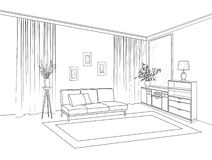 Home living room interior. Outline sketch of furniture with sofa. Shelving, table. Living room drawing design. Engraving hand drawing illustration royalty free illustration