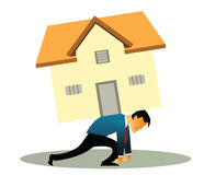 Home loan. Illustrative representation of a man overburdened with housing loan Royalty Free Stock Image