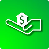 Home loan. Money icon in house held by hand stock illustration