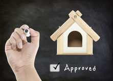Home loan approved. On blackboard royalty free stock photography