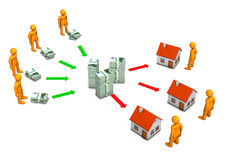 Home Loan Bank. With euro notes and orange cartoon characters Royalty Free Stock Image