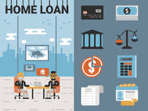Home Loan. Illustration of home loan concept with icons Stock Photos