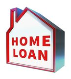Home Loan Means Fund Homes 3d Rendering. Home Loan House Means Fund Homes 3d Rendering Royalty Free Stock Photo