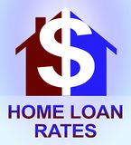 Home Loan Rates Represents Housing Credit 3d Illustration. Home Loan Rates Dollar Icon Represents Housing Credit 3d Illustration Royalty Free Stock Photography