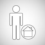 Home locate destination icon silhouette man Stock Images