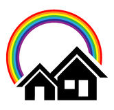 Home logo. Design with rainbow Royalty Free Stock Photos