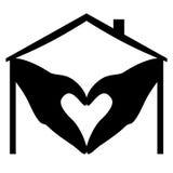 home logo för hjärta Arkivfoto