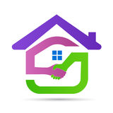 Home logo house hand shake friendly real estate building architecture construction symbol vector icon design. Home logo house real estate building construction vector illustration