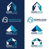 Home logo vector set design - Blue tone style Royalty Free Stock Images