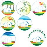 home logoer för samling stock illustrationer