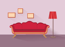 Home lounge interior. Living room furniture with sofa. Home lounge interior view. Living room furniture with sofa, floor light. Front view flat design Royalty Free Stock Photos