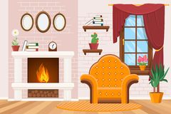 Home lounge interior with photo frames, warm fireplace and armchair  illustration. Home lounge interior with photo frames, warm fireplace and armchair. Cozy Stock Images